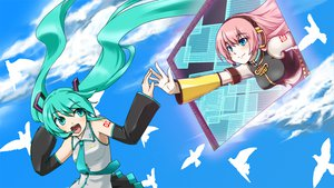 Rating: Safe Score: 51 Tags: aqua_eyes aqua_hair blue_eyes hatsune_miku megurine_luka pink_hair sky twintails vocaloid User: HawthorneKitty