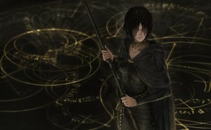 Rating: Safe Score: 34 Tags: black_hair cape choker dark demon's_souls dress hoodie jdori magic maiden_in_black necklace realistic scar short_hair signed staff User: otaku_emmy