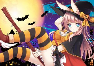 Rating: Safe Score: 34 Tags: animal animal_ears aqua_eyes bat bow breasts bunny_ears cleavage guhua67 halloween hat long_hair moon original pink_hair pumpkin skirt thighhighs witch witch_hat User: RyuZU
