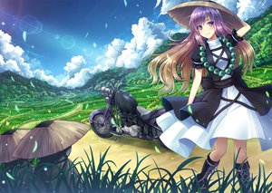 Rating: Safe Score: 106 Tags: akashio boots clouds dress grass hat hijiri_byakuren landscape long_hair motorcycle necklace purple_eyes scenic sky touhou User: Flandre93