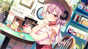 Rating: Safe Score: 106 Tags: blush book drink food fruit hat horns long_hair original purple_hair shinoba strawberry User: BattlequeenYume