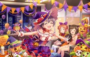 Rating: Safe Score: 13 Tags: animal_ears annin_doufu bow brown_hair building catgirl cat_smile chocolate choker city couch dress food gloves gray_hair halloween hat idolmaster idolmaster_cinderella_girls idolmaster_cinderella_girls_starlight_stage maekawa_miku night ponytail pumpkin ribbons short_hair skirt tagme_(character) tail witch_hat wristwear User: luckyluna