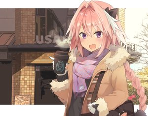 Rating: Safe Score: 62 Tags: all_male astolfo bow braids building drink fang fate/apocrypha fate/grand_order fate_(series) gloves kusumoto_touka long_hair male pink_hair ponytail purple_eyes scarf trap User: otaku_emmy