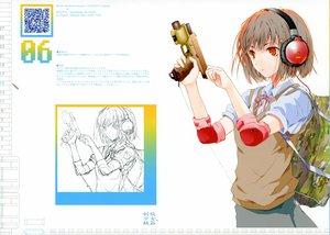 Rating: Safe Score: 52 Tags: fuyuno_haruaki gun headphones original red_eyes school_uniform short_hair sketch weapon User: Elim