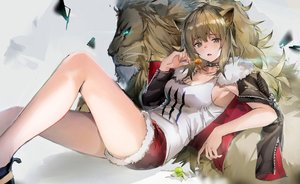 Rating: Safe Score: 134 Tags: 666_(ro_ro_ro3) aliasing animal animal_ears arknights breasts brown_eyes brown_hair catgirl choker cleavage lion long_hair open_shirt ponytail shorts siege_(arknights) User: BattlequeenYume