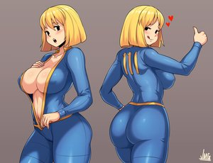 Rating: Questionable Score: 65 Tags: ass black_eyes blonde_hair bodysuit breasts cameltoe cleavage erect_nipples fallout fallout_4 gray heart jmg no_bra short_hair signed skintight vault_girl User: otaku_emmy