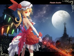 Rating: Safe Score: 91 Tags: blonde_hair elbow_gloves flandre_scarlet gloves hddkwar long_hair moon ponytail red_eyes sword touhou weapon wings User: SciFi