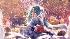 Rating: Safe Score: 65 Tags: aqua_eyes aqua_hair daidou_(demitasse) festival fireworks hatsune_miku japanese_clothes kagamine_len kagamine_rin kaito long_hair megurine_luka meiko night summer twintails vocaloid yukata User: Fepple
