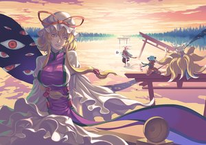 Rating: Safe Score: 67 Tags: animal_ears blonde_hair breasts catgirl chen dress foxgirl hat long_hair madyy multiple_tails ribbons sunset tail torii touhou water yakumo_ran yakumo_yukari User: Flandre93