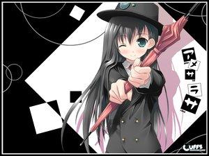 Rating: Safe Score: 42 Tags: amesarasa black_hair blush chiyokawa_rin cuffs_(studio) green_eyes hat kantoku long_hair umbrella wink User: 秀悟