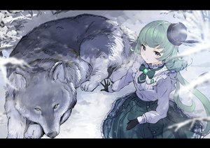 Rating: Safe Score: 81 Tags: aikatsu! alicia_charlotte animal blue_eyes gloves green_hair hat koruse lolita_fashion long_hair shirt sketch skirt snow wolf User: otaku_emmy