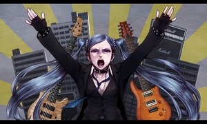 Rating: Safe Score: 32 Tags: collar gloves guitar hatsune_miku instrument long_hair shinichi_tahara suit tie twintails vocaloid wristwear User: luckyluna
