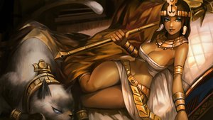 Rating: Safe Score: 111 Tags: animal breasts cat cleavage collar dark_skin green_eyes headdress iorlvm league_of_legends nidalee spear weapon wristwear User: Flandre93
