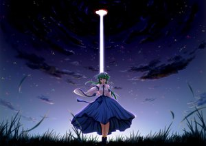 Rating: Safe Score: 49 Tags: animal azusayumi_meme frog grass green_eyes green_hair japanese_clothes kochiya_sanae long_hair miko night sky touhou User: gnarf1975