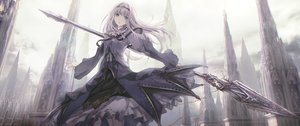 Rating: Safe Score: 80 Tags: apple228 blue_eyes building dress long_hair original spear tiara weapon User: BattlequeenYume