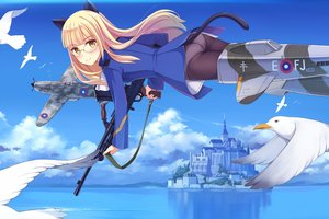 Rating: Safe Score: 49 Tags: aircraft animal animal_ears ass bird blonde_hair building clouds glasses gun long_hair panties pantyhose perrine-h_clostermann sky strike_witches tail underwear water weapon yellow_eyes yokaze_japan User: mattiasc02