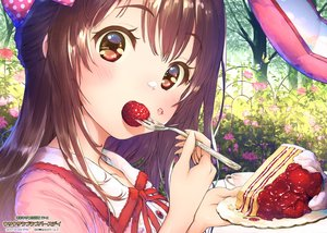 Rating: Safe Score: 62 Tags: blush bow brown_eyes brown_hair cake food fruit idolmaster idolmaster_cinderella_girls long_hair shimamura_uzuki strawberry tagme_(artist) tree User: RyuZU