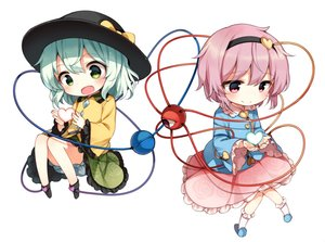 Rating: Safe Score: 20 Tags: 2girls bloomers blush bow green_eyes green_hair hat headband komeiji_koishi komeiji_satori pink_eyes pink_hair shinoba short_hair skirt touhou waifu2x white User: RyuZU