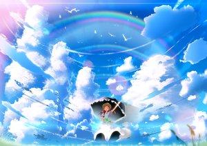Rating: Safe Score: 81 Tags: animal bird clouds dress hat original rainbow scenic sky skyt2 umbrella User: Flandre93
