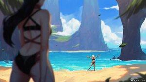 Rating: Safe Score: 39 Tags: 2girls ass beach bikini black_hair blonde_hair breasts dark_skin elezen final_fantasy final_fantasy_xiv hilda_ware hyur koyorin long_hair miqo'te ponytail short_hair signed swimsuit water User: SciFi
