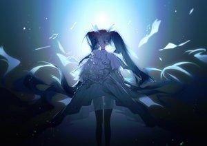 Rating: Safe Score: 100 Tags: choker dark dress hatsune_miku long_hair music paper twintails vocaloid yyb User: luckyluna