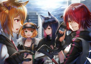 Rating: Safe Score: 34 Tags: animal_ears arknights black_hair breasts building city cleavage close clouds croissant_(arknights) exusiai_(arknights) group horns long_hair orange_hair red_hair short_hair sho_(sumika) sky sora_(arknights) texas_(arknights) User: Dreista