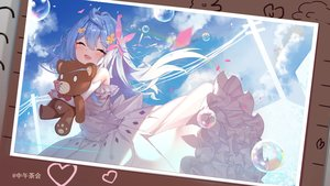 Rating: Safe Score: 67 Tags: aqua_hair blush bubbles clouds dress heart hug loli long_hair sky teddy_bear watermark zhongwu_chahui User: RyuZU