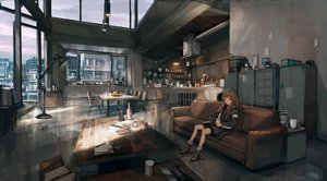 Rating: Safe Score: 112 Tags: book boots brown_hair building city clouds couch drink hoodie lm7_(op-center) long_hair orange_eyes original scenic skirt sky socks User: BattlequeenYume