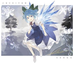 Rating: Safe Score: 28 Tags: blue_eyes blue_hair bow cirno dress fairy shihou_(g-o-s) short_hair signed snow touhou tree wings User: otaku_emmy