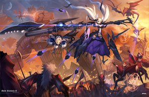 Rating: Safe Score: 126 Tags: animal armor blonde_hair blue_eyes breasts cleavage dragon gloves goggles long_hair magic mhk_(mechamania) moon original pixiv_fantasia pointed_ears purple_hair red_eyes short_hair sword thighhighs twintails watermark weapon white_hair User: opai