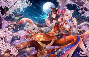Rating: Safe Score: 36 Tags: 2girls animal_ears ball building butterfly cherry_blossoms foxgirl haruci japanese_clothes magic mask moon multiple_tails night original petals sky tail User: RyuZU