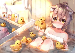 Rating: Safe Score: 74 Tags: animal_ears annin_miru annin_miru_channel bath bathtub blush catgirl cat_smile gray_hair loli rubber_duck short_hair towel usagihime yellow_eyes User: RyuZU