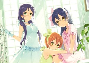 Rating: Safe Score: 90 Tags: 6u_(eternal_land) blue_hair blush breasts dress gloves green_eyes hoshizora_rin long_hair love_live!_school_idol_project orange_hair ribbons short_hair sonoda_umi toujou_nozomi twintails waifu2x yellow_eyes User: RyuZU