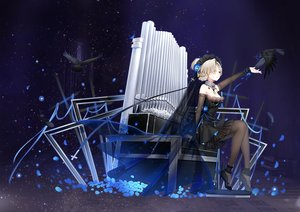 Rating: Safe Score: 53 Tags: animal anthropomorphism azur_lane bird cropped cross dress gothic headdress instrument maya_g pantyhose petals ribbons sheffield_(azur_lane) User: BattlequeenYume