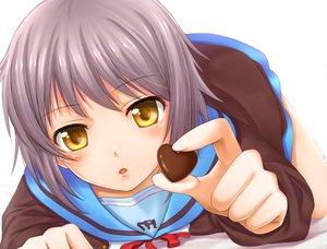 Rating: Safe Score: 63 Tags: candy chobipero chocolate close nagato_yuki school_uniform suzumiya_haruhi_no_yuutsu white User: Cacha