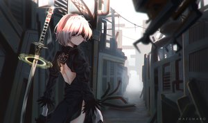 Rating: Safe Score: 135 Tags: blindfold dress gloves gray_hair mazumaro nier nier:_automata pod_(nier:_automata) short_hair sword water weapon yorha_unit_no._2_type_b User: RyuZU
