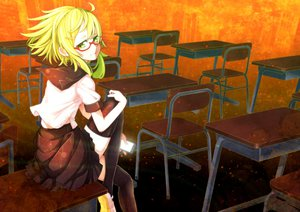 Rating: Safe Score: 51 Tags: glasses gumi onasu school_uniform thighhighs vocaloid User: FormX