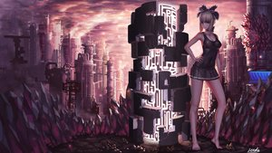 Rating: Safe Score: 73 Tags: arad_senki barefoot blonde_hair bow breasts cleavage clouds dress dungeon_and_fighter dungeon_fighter_online industrial letdie1414 navel purple_eyes scenic short_hair signed skintight sky User: BattlequeenYume