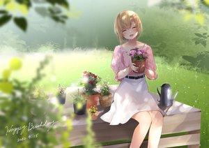 Rating: Safe Score: 51 Tags: aiba_yumi blonde_hair blush flowers garter_belt grass idolmaster idolmaster_cinderella_girls nekonomimi short_hair skirt User: BattlequeenYume