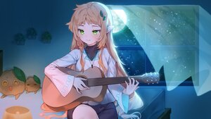 Rating: Safe Score: 45 Tags: brown_hair cheli_(kso1564) guitar instrument long_hair moon necklace night pointed_ears sky stars User: BattlequeenYume