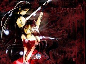 Rating: Safe Score: 10 Tags: 2girls black_hair blue_eyes brown_hair dress long_hair red sword tagme_(artist) tagme_(character) weapon User: Oyashiro-sama