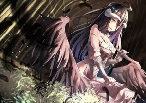 Rating: Safe Score: 158 Tags: albedo black_hair breasts cleavage dress feathers gloves horns long_hair overlord saraki signed wings yellow_eyes User: RyuZU