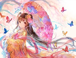 Rating: Safe Score: 135 Tags: brown_eyes brown_hair butterfly flowers fuji_choko japanese_clothes long_hair original umbrella User: RyuZU