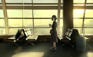 Rating: Safe Score: 46 Tags: aircraft aliasing black_hair clouds dress drink original polychromatic sakeharasu short_hair sky socks sunset wristwear User: FormX