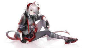 Rating: Safe Score: 67 Tags: arknights gray_hair horns hydroxyketone polychromatic red_eyes skirt tail w_(arknights) white User: BattlequeenYume