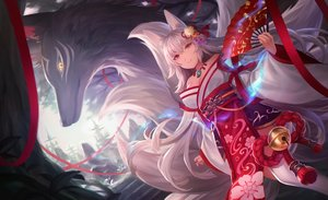 Rating: Safe Score: 115 Tags: animal animal_ears fan fox foxgirl japanese_clothes long_hair multiple_tails mutugi necklace original red_eyes stairs tail thighhighs white_hair User: RyuZU