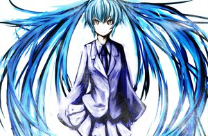 Rating: Safe Score: 76 Tags: blue_hair hatsune_miku long_hair polychromatic suit tie twintails vocaloid white User: HawthorneKitty