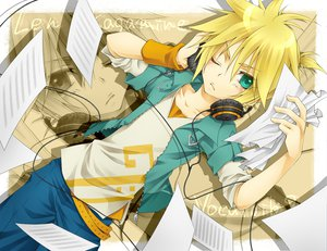 Rating: Safe Score: 50 Tags: headphones kagamine_len male vocaloid User: HawthorneKitty