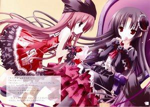 Rating: Safe Score: 58 Tags: 2girls black_hair brown_hair dress drink hat red_eyes tinkle User: Oyashiro-sama