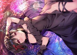 Rating: Safe Score: 69 Tags: black_hair blush dress fireworks gloves nopan original red_eyes reflection shikitani_asuka short_hair tears water User: BattlequeenYume